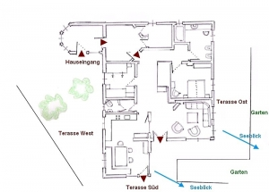 Map of holiday apartment after refurbishment in 2020